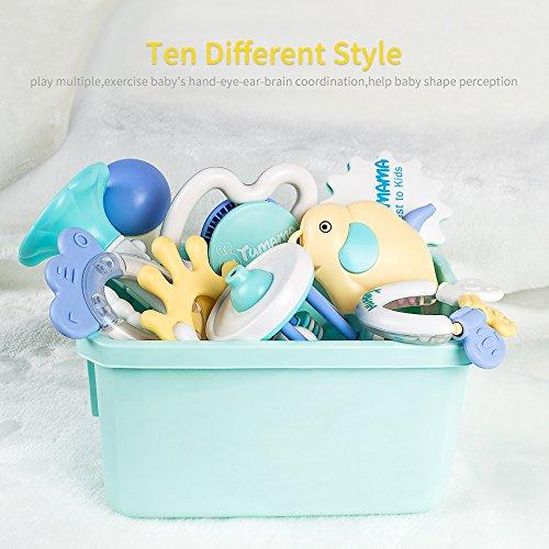 Tumama 10pcs Baby Toys 6 12 Months Sensory Teething Rattle For