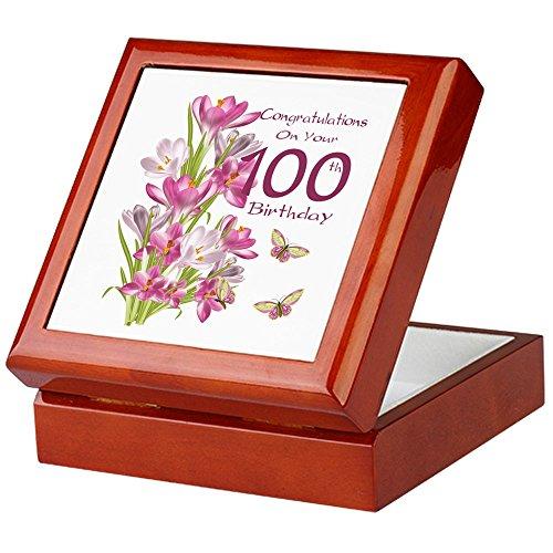 CafePress-100. Geburtstag Rosa Crocus-Keepsake Box, fertig Hartholz Jewelry Box, Samt Gefüttert Memento Box mahagoni