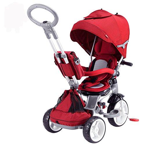 Mondial Toys Triciclo Passeggino con Sedile Girevole 6 in 1 Modi New Rosso