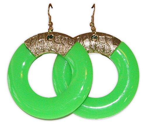 Neon Nation Runder Ohrring der Kostüm-Partei mit 80 Farben für Damen Grün
