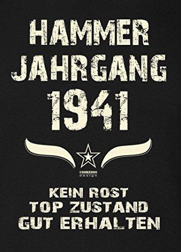 Geschenk Set : Geschenkidee 76. Geburtstag ::: Hammer Jahrgang 1941 ::: Herren T-Shirt & Urkunde Geburtstagskind des Jahres für Ihren Papa Vater Opa Großvater ::: Farbe: schwarz Schwarz