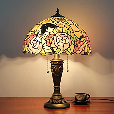 16 Inch Vintage Pastoral Rose Stained Glass Table Lamp Bedroom Lamp Bedside Lamp