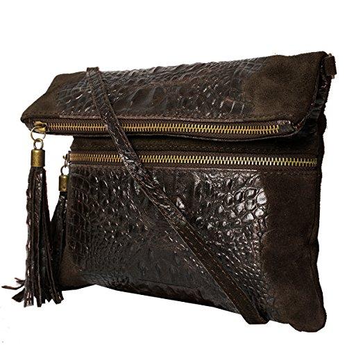 Pochette da giorno , Borse a spalla (24,5 / 21 (28) / 2) pelle & Croco-look, Mod. 2080 Choco/Croco