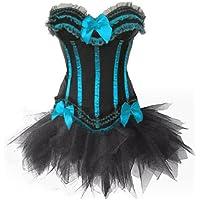 Burlesque Stripe Corset & Tutu/Petticoat Fancy Dress Set, Hen Party Costume