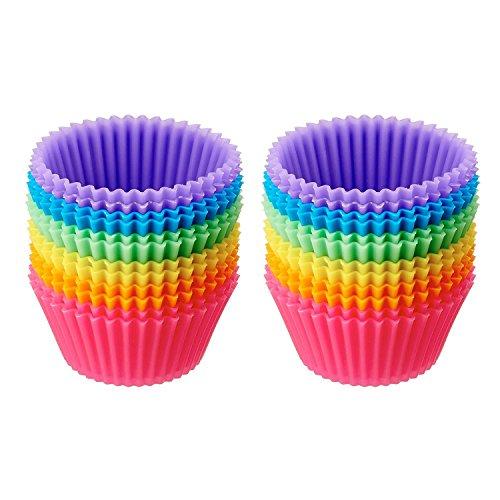 (SUNRIZ Silikon Muffinform, 24er Antihaftbeschichtung Cupcake Backform Muffinförmchen Kuchen Dessert Cup Cake Pudding Gelee Mini-Cupcake Formenset Kuchenformen,7x4.2x3.2cm)