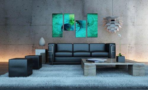 Augenblicke Wandbilder Meerblick. 130x70cm 4 teiliges Keilrahmenbild türkis (30×70+30×50+30×50+30x70cm) abstraktes Wandbild mehrteilig Gemälde-Stil handgemalte Optik Vintage