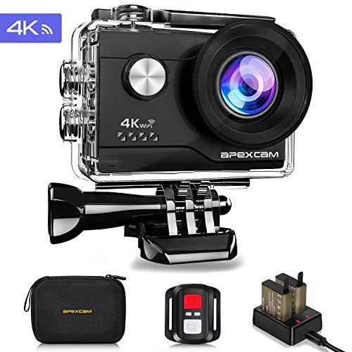 Apexcam 4K Action cam 16MP WiFi Sports Kamera Ultra HD Unterwasserkamera 40m 170 ° Weitwinkel 2.4G Fernbedienung Zeitraffer 2x1050mAh Akkus 2.0-inch LCD Bildschirm und andere - Photo Appareil