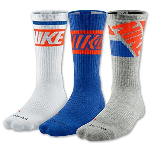 Nike Dri-Fit Baumwolle gepolstert Crew Socken 3er-Pack (Große 8-12, Royal Blau/Weiss/Grau) (11 Socken Crew-weiße)