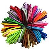 Kids Girls 50Pcs/Lot Thick Endless Snag Free Hair Elastics Bobbles Bands Hoops