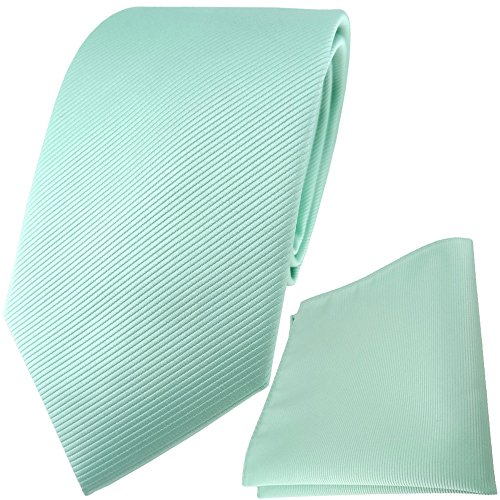 TigerTie Designer Krawatte Einstecktuch in mint grün einfarbig uni Rips (Mint-krawatte Und Einstecktuch)