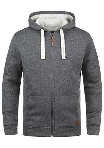 Blend Ted Herren Winter Sweatjacke Kapuzen-Jacke Zip-Hoodie Pullover mit Teddy-Futter, Größe:XL, Farbe:Pewter Mix (70817) Winter Kapuze Jacke