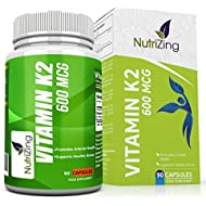 ★ NutriZing's Vitamin K2 ~ High Strength 600 MCG MK-7 ~ Fermented Natto Based Vitamin K ~ 90 vegicaps ~ Suitable for Vegetarians ~ For Stronger Teeth and Bones ~ For Improved Heart and Blood Health ~ FREE BONUS E-BOOK