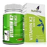 NutriZing integratore di Vitamina K2. Ad alta resistenza 600 mcg vegetariani capsule. La vitamina K contribuisce al mantenimento delle ossa normali. Essenziale supplemento per uomini e donne. Menachinone MK-7 da natto