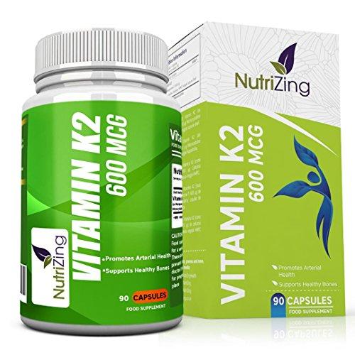 NutriZing Vitamina K2. Alta resistencia 600 mcg. 90 Vegeterian Cápsulas. Promueve el mantenimiento de los huesos normales. Vitamina K Suplemento para hombres y mujeres. Vitamina K a base de Natto fermentada