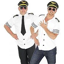 Foxxeo 40104 | Piloten Kostüm für Herren Piloten Karneval Fasching Pilotenkostüm weiß Sexy Gr. M-XL