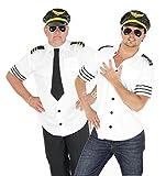 Foxxeo 40104 | Piloten Kostüm für Herren Piloten Karneval Fasching Pilotenkostüm weiß Sexy Gr. M-XL, Größe:L