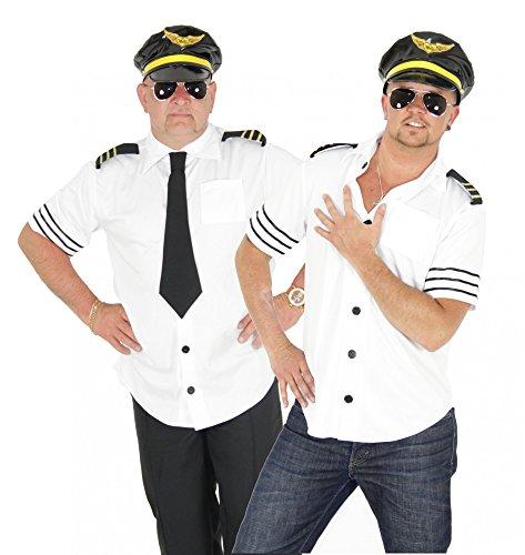 Foxxeo Piloten Kostüm für Herren Pilot Karneval Fasching Pilotenkostüm weiß Sexy Größe M