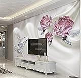 Yosot Custom 3D Fototapete Mode Crystal Rose 3D-Wandbilder Tapeten Wohnzimmer 3D Wandbilder Tapeten-140Cmx100Cm