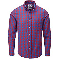 Charles Wilson Camisa Franela de Cuadros Manga Larga para Hombre (Large, Blue & Red)