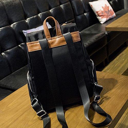 Edizione coreana Oxford tessuto impermeabile zaino di viaggio vento nazionale di grande capacità doppia borsa a tracolla, nero Light brown