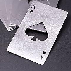 Idea Regalo - 4 pezzi tappo di bottiglia di birra opener offrono acciaio inossidabile carta da gioco Ace apribottiglie birra apri nel disegno carte da poker in acciaio inox di alta qualità, il valore della carta 'Pik AS' Poker