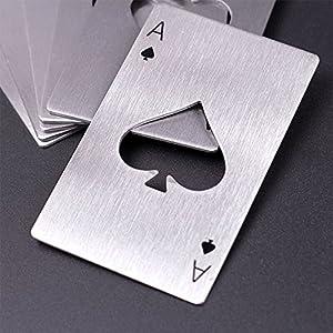 4 pezzi tappo di bottiglia di birra opener offrono acciaio inossidabile carta da gioco Ace apribottiglie birra apri nel disegno carte da poker in acciaio inox di alta qualità, il valore della carta 'Pik AS' Poker