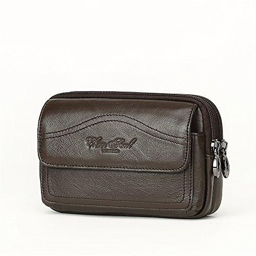 SHINIING KIDS Männer Taille Tasche 5,5 Zoll Echtes Leder Retro Handytasche Brieftasche Kleine Kupplung,Brown