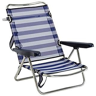 ALCO 607alf-0056-Beach Chair Aluminium with Handle, fibreline, 720x 650x 150mm, Blue and White, 1Unit