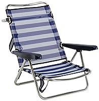 Alco 607ALF-0056 - Silla Playa Aluminio Fibreline, con Asa, 720 x 650 x 150 mm, color azul y blanco, 1 unidad