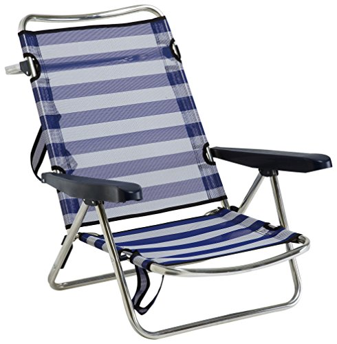 ALCO 607 alf-0056 – Beach Chair Aluminium with Handle, fibreline, 720 x 650 x 150 mm, Blue and White, 1 Unit