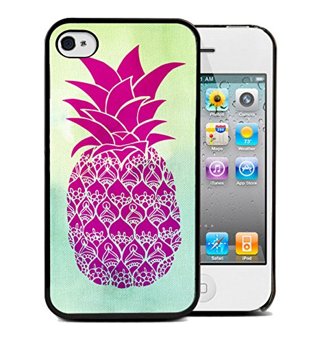 Coque silicone BUMPER souple IPHONE 5/5s - Ananas Pineapple Fruit motif 4 DESIGN case+ Film de protection OFFERT