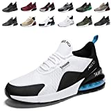 populalar - Scarpe da corsa, da uomo e da donna, scarpe da ginnastica, sneaker traspiranti, per corsa, fitness, palestra, outdoor, leggere., Bianco (10 bianco/nero/blu), 38 EU