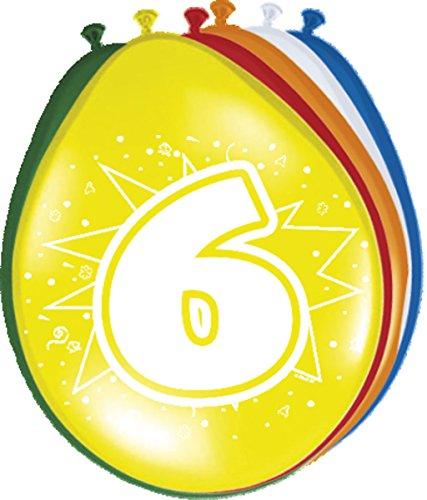 Folat 08206 6. Geburtstag Ballons-8 Stück, Mehrfarbig