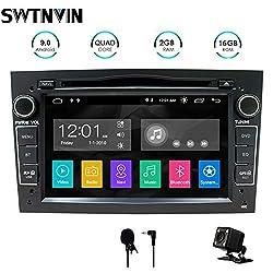 SWTNVIN Android 9 Auto Audio Stereo Kopfeinheit passt für Opel Vauxhall DVD Player Radio 7 Zoll HD Touchscreen GPS Navigation mit Bluetooth WiFi Lenkradsteuerung 2GB + 16GB (Schwarz)