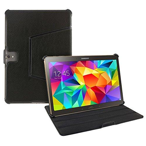 eFabrik Schutz Hülle für Samsung Galaxy Tab S 10.5 Zoll ( SM-T800 SM-T805 ) Tablet Tasche Case Cover Schutztasche Schutzhülle kratzfest Ständer-Funktion Leder-Optik schwarz