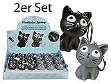 Schlüsselanhänger Katze mit Sound und LED Licht - 2er Set - Katzengeschenk