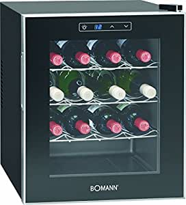 Bomann KSW 344 Freestanding Thermoelectric wine cooler Black 16bottle(s) A wine cooler - Wine Coolers (Freestanding, Black, Black, 3 shelves, 1 door(s), Black/Silver)