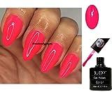 Bluesky Vernis à ongles 10ml de couleur rose vif saisissant, vernis gel pour lampes UV ou LED, référence A113, 2x lingettes brillance de Luvlinail incluses