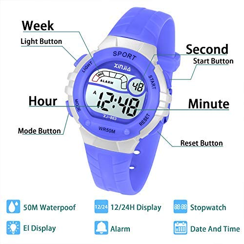 Kids Digital Watches for Boys Girls,5ATM Outdoor Sports Waterproof  Wristwatch with Alarm/Timer/LED Light/Dual Time Zone/Chronograph,Best Gift  for Kids