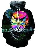 TUONROAD Unisex Lustige Pullover Jungen Digitaldruck Kapuzenpullover Taschen Langarm und Fleece Plüschfutter Top Sweatshirt Katze eine Brille Tragen Pullover Top Jumper