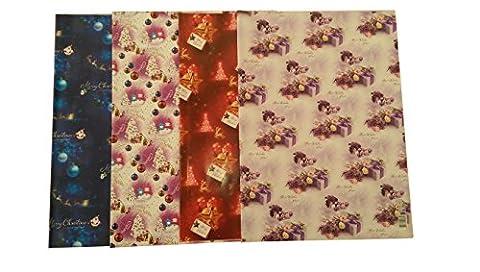 8feuilles–2x 4designs de papier cadeau de Noël Motif boules de Noël Rouge Joyeux Noël, bleu et son traîneau, Lilas