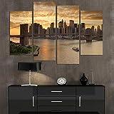 CYACC 4 Flugzeug New York City in der Abenddämmerung Landschaft Home Decor Wandkunst Leinwandbild Drucken Ölgemälde Set von 4 Jede Leinwand Kunst @ 20x40cmx2_20x50cmx2