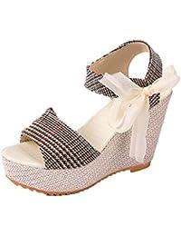Sandalias mujer, Manadlian Sandalias de mujer Zapatos casuales Tacones de cuña Verano Zapatos de boca de pescado de plataforma alta (CN:36, Caqui)