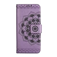 LG K10 Case,Beddouuk Flip Leather Cover Wallet Case with Card Slots Stand Function Magnetic Closure,Retro Mandala Pattern Design Folio Full Protection Book Style Bumper Case Cover for LG K10(Mandala,Purple)