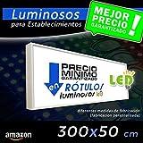 Rótulo Luminoso led 300X50, cajón luminoso para publicidad, letrero luminoso, carteles luminosos para comercios, elija su medida de cartel led para su fachada