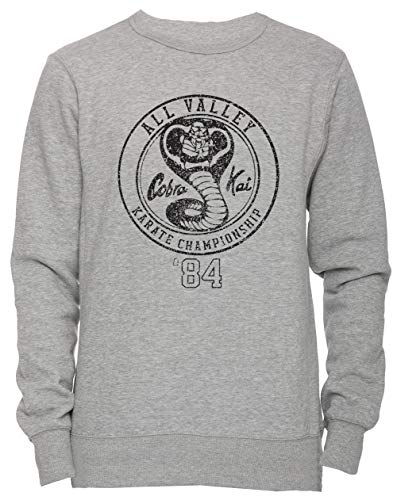 51Hk0tyb yL - Sudadera unisex gris con logo Cobra Kai All Valley Championship 1984