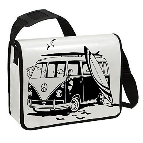 Schultertasche Schultasche Planentasche Umhängetasche Surfbus Bulli VW2 Strand Surfbrett ta219 - ausgewählte Farbe: *Weiß - schwarzer Aufdruck* Weiß - schwarzer Aufdruck