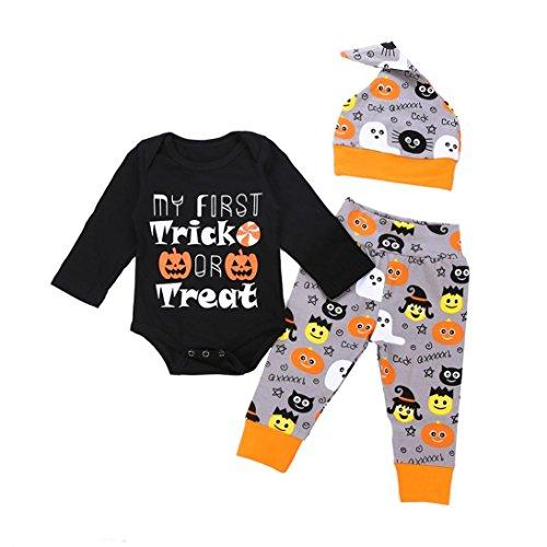 Mingfa Baby Jungen Mädchen Halloween Kürbis Kleidung Outfits Baby Kleinkind Langarm Buchstaben Druck Strampler Jumpsuit Hose Mütze Set, 6M, Schwarz, 1 (Baby Kürbis Kostüm Muster)