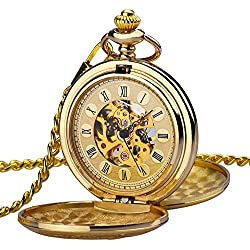 zeiger Steampunk Montre Homme Squelette Mécanique cuivre Gousset Dore double couvercle style rétro pendentif montre de poche w347
