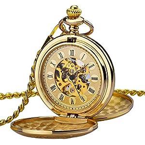 Herren Taschenuhr ZEIGER Analog Mechanisch Handaufzug Uhr Skelett Taschenuhr Armbanduhr Gold Herren Uhr W347